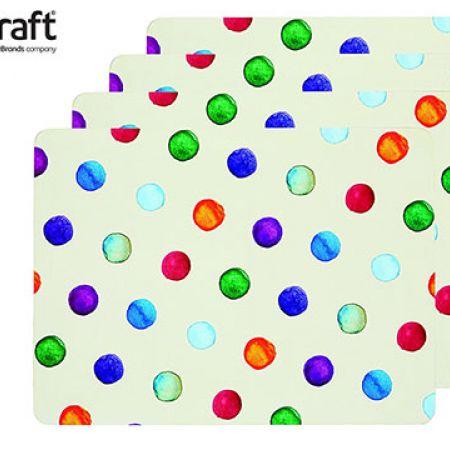 KitchenCraft Set Of Polka Dot Cork Back Laminated Placemats 4 Pcs 29 x 21.5 x 0.5 cm