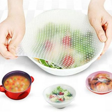 Set Of Stretch & Fresh Reusable Silicone Food Savers In Different Sizes 4 Pcs