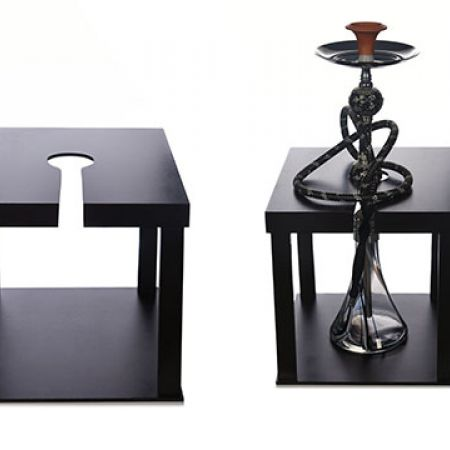 Wooden Black Square Stabilizer Hookah Table 40 x 40 cm
