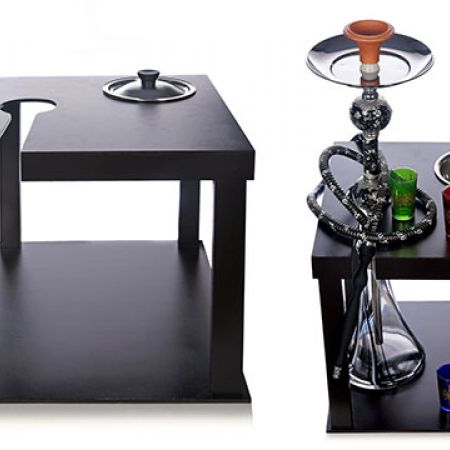 Wooden Black Square Stabilizer Hookah Table With Charbon Plate 40 x 40 x 40 cm