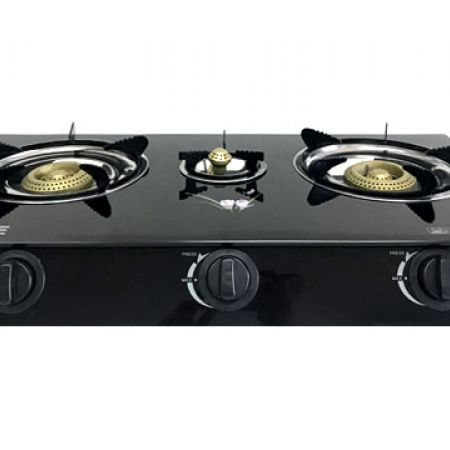 BESSE Glass Top Triple Burner Table Gas Cooker 70 x 35 x 9 cm