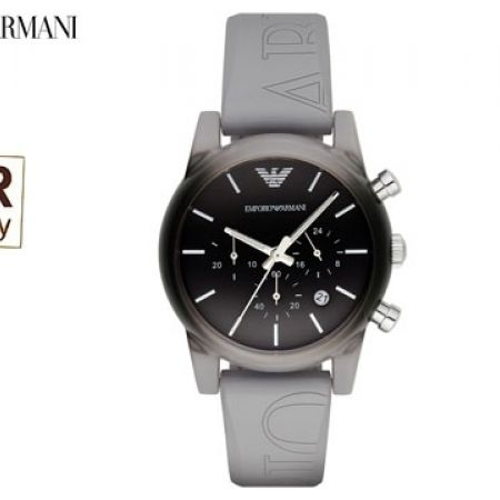 Emporio Armani Classic Grey and Black Degrade Dial Grey Silicone Round Watch For Men
