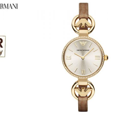 Emporio Armani Classic Champagne Sunray Dial Brown Leather Round Watch For Women