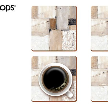 Creative Tops Set Of Neutral Abstract Premium Cork-Backed Coasters 4 Pcs