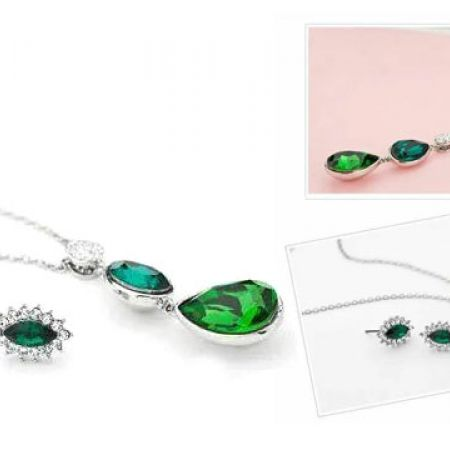 Swarovski Elements Set Of Tears Green Necklace With Earrings For Women