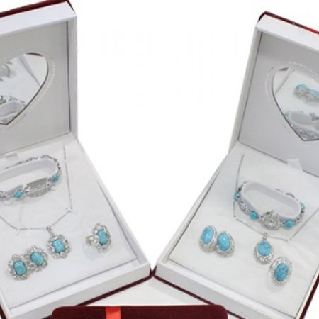 Red Gift Box Jewelry Set Of Turquoise Necklace, Earrings, Ring and Watch For Women - Round Shape