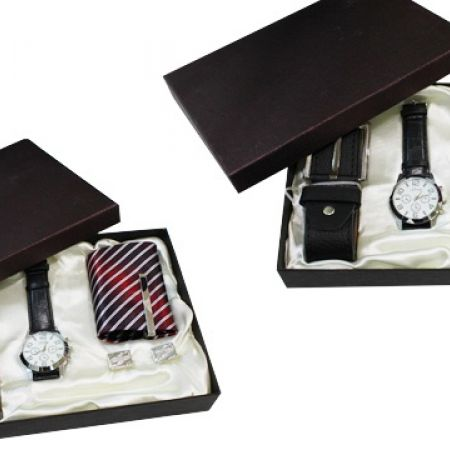 Special Gift Box Set Of Leather Watch, Cufflinks, Necktie and Belt For Men - Black