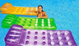 Color Splash Orange Inflatable Pool Mattress