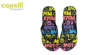 Capelli New York Peace & Love Patterns Jelly Thong Flip Flops For Women - Size: 37