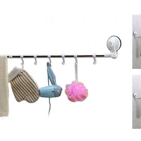 Wall Mounted Strong Suction Cup Stainless Steel Hanging Towel Bar For Bathroom & Kitchen 30 cm