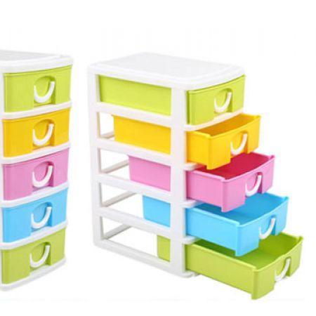 Colorful Mini Plastic 5 Layers Drawer Storage Box 18.5 x 12 x 8 cm