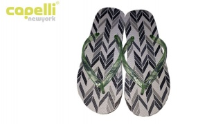 Capelli New York Black & Grey Arrows Opaque Jelly Thong Flip Flops For Women - Size 37