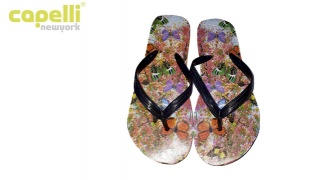 Capelli New York Virtually Butterflies Opaque Jelly Thong Flip Flops For Women - Size 37