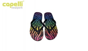 Capelli New York Colorful Leopard Opaque Jelly Thong Flip Flops For Women - Size 37
