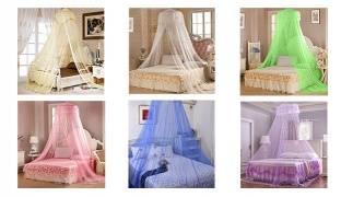 Round Bed Canopy Dome Mosquito Net - Pink