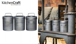 KitchenCraft Industrial Kitchen Vintage-Style Metal Canister 1 L - Coffee