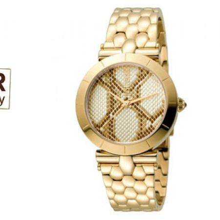Just Cavalli Animal Devore Stainless Steel With Stainless Steel Strap Round  Watch For Women b2f309042b