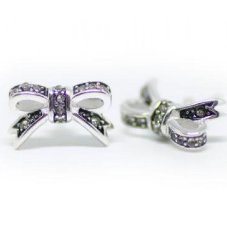 Ribbon Knot Silver Cubic Zircona Astrid Earrings For Women