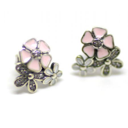 Silver White & Pink Flowers Cubic Zirconia Anais Earrings For Women