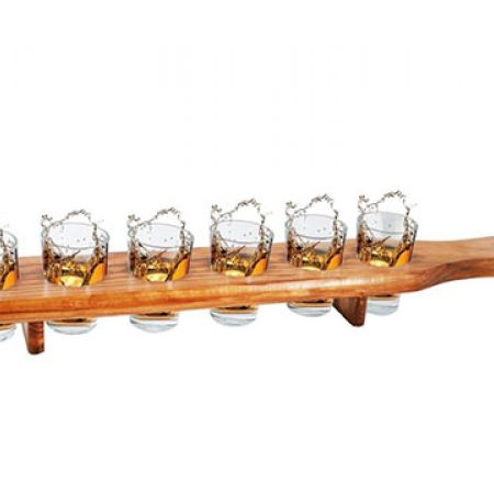 6-Piece Shot Glass Set With Wooden Holder