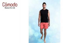 Comodo Cotton Lycra V-Neck Tank Top For Men - Black - Small