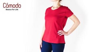Comodo Lightweight Basic T-Shirt For Women - Black - XS