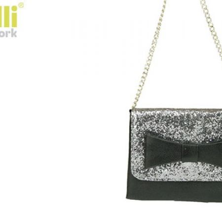 652bc968a0 Capelli New York Classy Black   Silver PU Faux Leather With Sequins  Crossbody Bow Bag For Girls