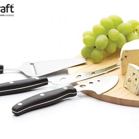 KitchenCraft Cheese Serving Set With Board & 3 Cheese Servers