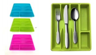 Plastic Drawer Cutlery Tray With 5 Compartments - Blue
