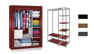 Storage Cabinet & Wardrobe 175 x 105 x 45 cm - Burgundy