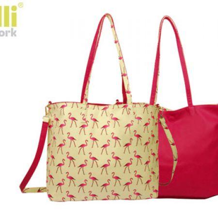 Capelli New York 2 In 1 Reversible Beige & Fuschia Flamingo Design Fashion Handbag For Women