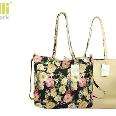 Capelli New York 2 In 1 Reversible Beige & Black Flowers Design Fashion Handbag For Women