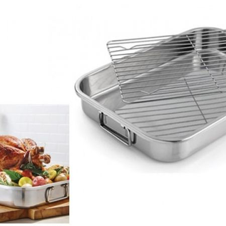 Remy Olivier Stainless Steel Roasting Pan With Removable Rack
