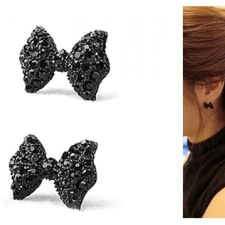 Simple Vintage Metal Black Butterfly Bow Stud Earrings For Women