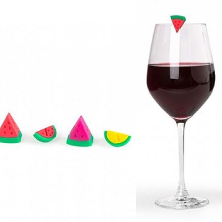 Gift Concept Set Of Silicone Watermelon Wine Glass Markers 6 Pcs