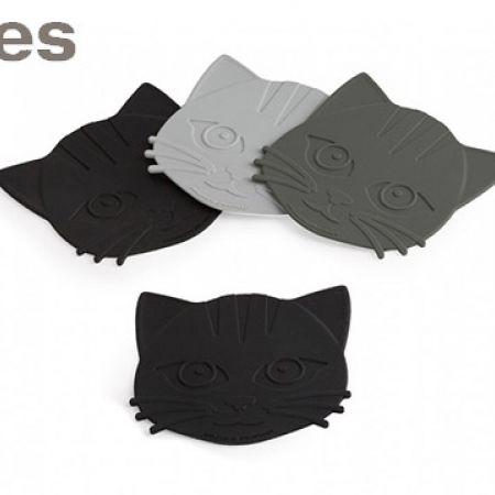 Stokes Set Of Multicolor Silicone Meow Coasters 4 Pcs