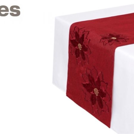 Stokes Country Poinsettia Runner 13 x 72 inch