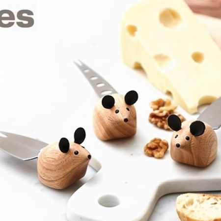 Stokes Set Of Stainless Steel & Wood Blind Mice Knife 3 Pcs