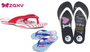 Zaxy Inseparavel Intense Slippers For Women - Blue/White - Size: 37