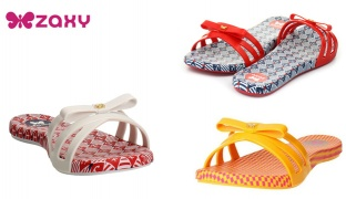 Zaxy Like Slide Slippers For Women - Blue/White - Size: 37