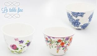 La Table Fine Set Of Porcelain 12 Pcs Coffee Shot Glass - Pink Floral