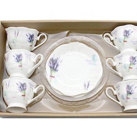 La Table Fine Set Of Porcelain 6 Pcs Lavender Soul Coffee Cup With Saucers