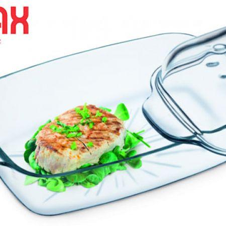 Simax Glass Rectangular Casserole With Steam Lid 3.2 L