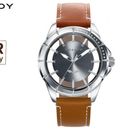 Viceroy Leather 401047-57 Antonio Banderas Brown Round Dial Watch For Men