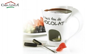 "Casa Linga Set Of Porcelain ""Je Suis Fou De Chocolat"" Fondue Mug With 2 Forks"