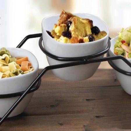 Casa Linga Set Of 3 Pcs Square Appetizer Bowl With Black Metal Rack