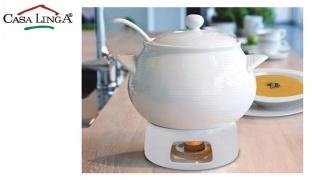 Casa Linga Set Of Porcelain Soup Tureen With Lid Ladle & Stand Burner