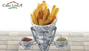 Casa Linga Porcelain Newspaper French Fries Cone Holder With 2 Pcs Round Dip Dish