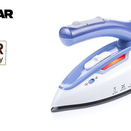 Tristar White & Blue Travel Steam Iron Foldable Handle Dual Voltage System