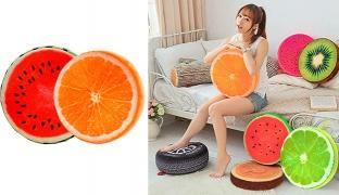 Round Soft Plush Fruit Pillow 38 cm - Watermelon